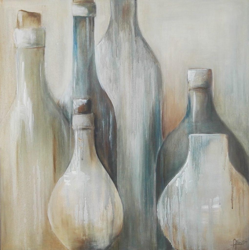Bottles in blue een acryl schilderij op hout 50 x 50cm gemaakt door Annet Schrander