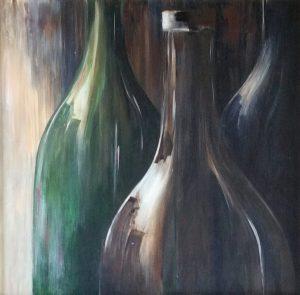 Spiegeling Blow-up van de flessen een acryl schilderij op hout 60 x 60cm gemaakt door Annet Schrander