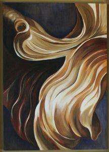 Goud een acryl schilderij op hout 50 x 70cm gemaakt door Annet Schrander
