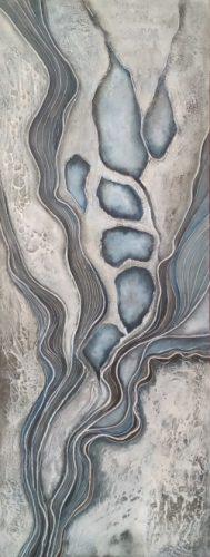 """""""Siberia Lena"""" een structuur, touw en acryl schilderij op hout 50 x 123cm gemaakt door Annet Schrander"""